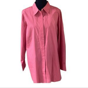 Land's End Striped Button Up Blouse